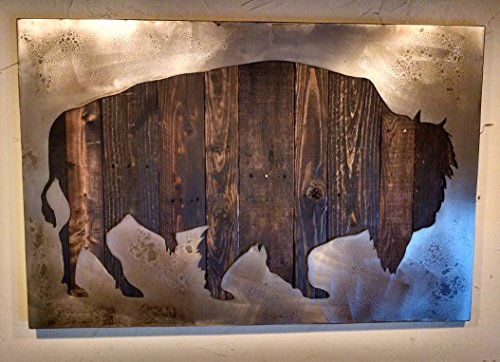 American Bison Art with Reclaimed Wood and Aged Steel by LegendaryFineArt