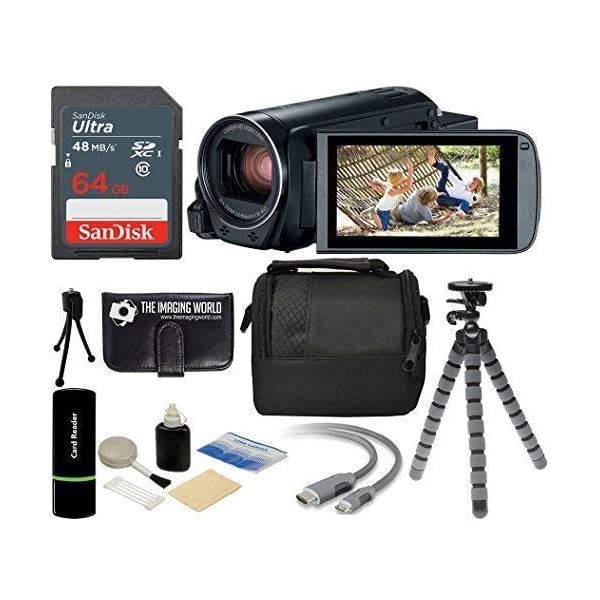 Canon VIXIA HF R800 57x Zoom Full HD 1080p Video Camcorder + 64GB Card + Case + Tripod + Digital Camera Cleaning Kit – Complete Accessories Bundle