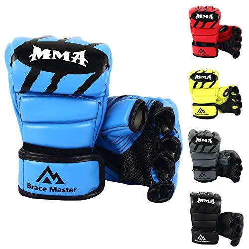 Brace Master MMA Gloves UFC Gloves Boxing Training Gloves Men Women Leather More Padding Fingerless Punching Bag Gloves The Kickboxing, Sparring, Muay Thai Heavy Bag (Pro Blue, ()