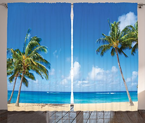 Ambesonne Hawaiian Decorations Collection, Windy Exotic Island with Tropical Trees Calm Beachy Theme Ocean Photography Print, Living Room Bedroom Curtain 2 Panels Set, 108 X 84 Inches, Gray Green (Beachy Window Treatments)