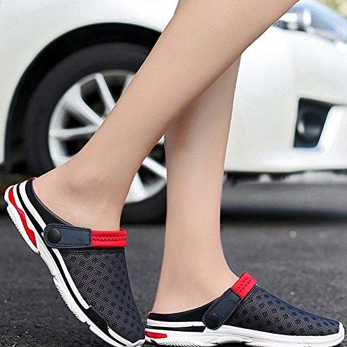 Herren Mesh Sandalen Pantolette Rot Damen Beach Schuhe Atmungsaktiv Slip on Clogs DADAZE Hausschuhe Sommer ZdTa8wdqx