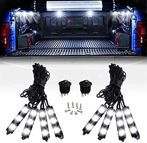 Nilight – TR-08 8PCS 24LED Rock Light for Cargo Truck Pickup Bed Off Road Under Car Side Marker LED Rock Lighting Kit w/Switch White, 2 Years Warranty