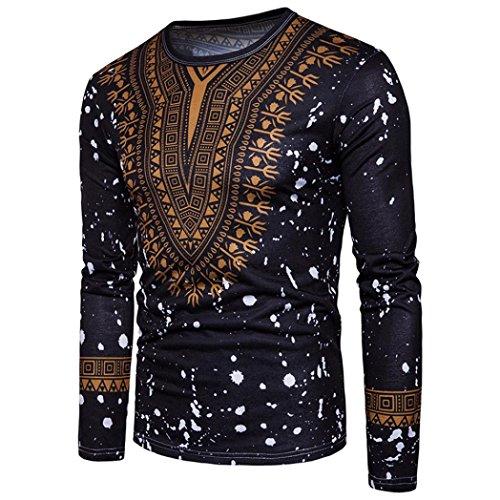 Men's Casual Pullover Retro Floral Print Crewneck Long Sleeved T-shirt Top Blouse (Black, L)