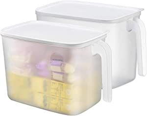 Lunhoo Storage Organizer Bin with Front Handles and Lid for Cabinet, Pantry, Counter, Organizer Box for Coffee, Tea, Packets Pack of 2