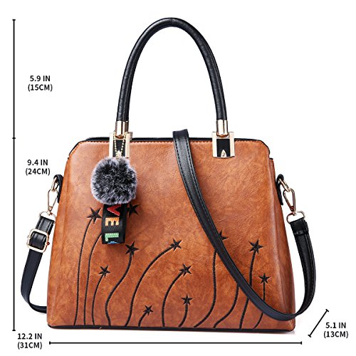 Women Purses and Handbags Top Handle Satchel Shoulder Tote Bags Fashion Leather Girls Crossbody Bag by PINCNEL (Image #3)