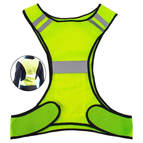 Reflektierende Signalweste oder Warnweste fürs Joggen, Radfahren, Hundeausführen, Sportausrüstung mit hoher Sichtbarkeit für Erwachsene und Kinder, mit Tasche