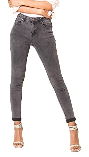 215f1f39b1dd Nina Carter Jean Femme Skinny Gris avec Revers Pantalon Slim Stretch Taille  36