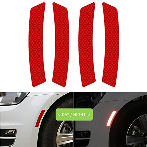 Reflective Tape Caution Warning Safety Reflector Strips Sticker Fluorescent Waterproof Reflective Car Decals for Automobile Car Pickup Truck SUV RV Boat Motorbike Helmet 4pcs (Red, 5.5-in x 0.9-in)