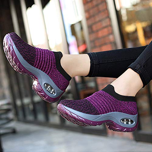 Hot Women Sports Air Cushion Sneakers Mesh Breathable Slip-On Running Sock Shoes