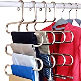 DOIOWN S-Type Stainless Steel Clothes Pants Hangers Closet Storage Organizer Pants Jeans Scarf Hanging (14.17 x 14.96ins, Set of 3) (3-Pieces)