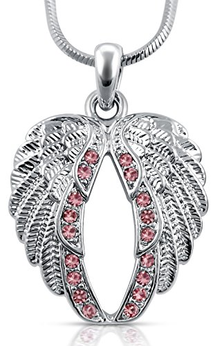 Pastel PINK Crystal Guardian Angel Wings Necklace product image