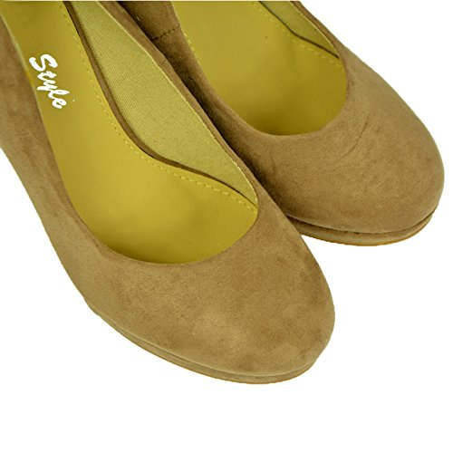 New Womens Wedge Heel Pumps Ladies Pull On Closed Toe Platform Shoes Size UK 3-8 khaki suede I73SLjm