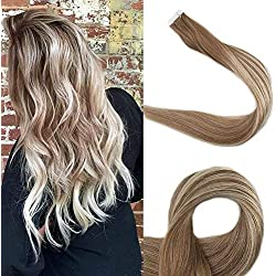Full Shine 18 inch Tape Hair Extensions Remy Human hair Balayage Ombre Color #6 Cheust Brown to #22 Highlighted Color #6 20 Pcs 50 Gram