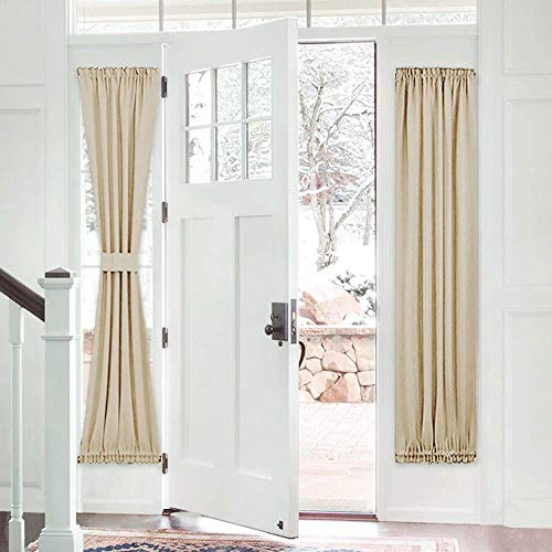 PONY DANCE Sidelight Door Curtain - Blackout Patio Panel Top and Bottom Rod Pocket French Door Curtain for Privacy Bonus Tiebacks, 25 x 72-inch, Biscotti Beige, Single Piece (Rod And Pocket Curtains Bottom Top)