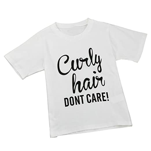 a66d8b4d45a Tenworld Short Sleeve Little Girls Curly Hair Don t Care Letter Print T- shirt