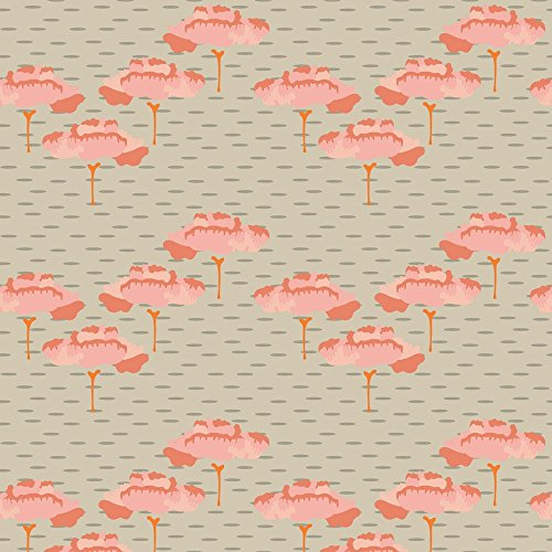 Forrest Fabric Folk Peach Trees Tan Taupe Birch Coral Scandinavian Large Miss Chiff Designs by Misschiffdesigns Printed on Fleece Fabric by the Yard by Spoonflower
