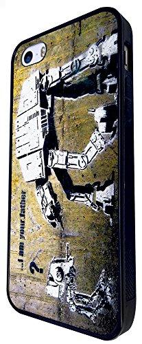 548 - Banksy Star War Robot Graffiti Art Design iphone SE - 2016 Coque Fashion Trend Case Coque Protection Cover plastique et métal - Noir