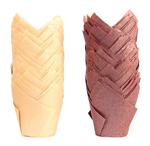 200-pack tulip cupcake muffin liners wrappers mini baking paper cups-natural-brown&burgundy