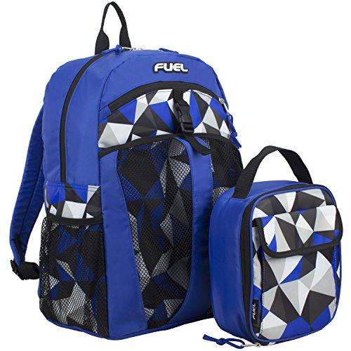 Fuel Backpack & Lunch Bag Bundle, Royal Blue/Crystal Clear Print