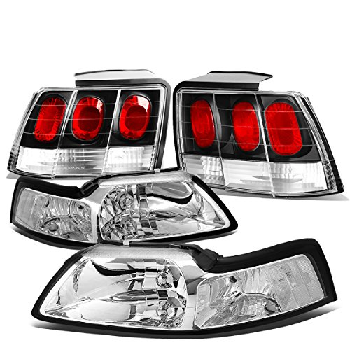 For Ford Mustang Pair of Chrome Housing Clear Corner Headlight + Black Altezza Style Tail Light