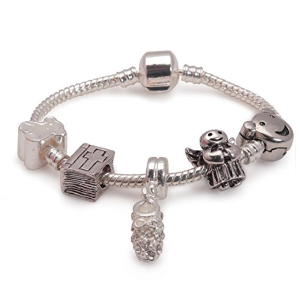 Liberty Charms Childrens Baby Christening Keepsake Silver Plated Style Charm Bead Bracelet