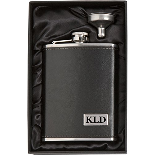 (Engraved 8oz Leather Wrapped Stainless Steel Hip Flask & Funnel Gift Set Custom Personalized )