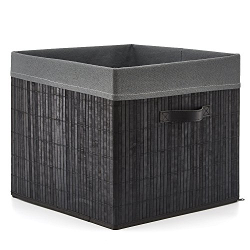 EZOWare Large Decorative Multi-Purpose Bamboo Storage Organizer Basket Bin with Removable Liner (15 x 15 x 13 inch) for Home, Office, Toys, Bathroom, Bedroom - Black/Light Gray by EZOWare