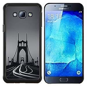 LECELL--Funda protectora / Cubierta / Piel For Samsung Galaxy A8 A8000 -- Lapso Puente Niebla Tiempo de fotos --