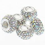 RUBYCA 11MM 5pcs Big Hole Crystal Charm Beads fit European Charm Bracelet Jewelry White AB