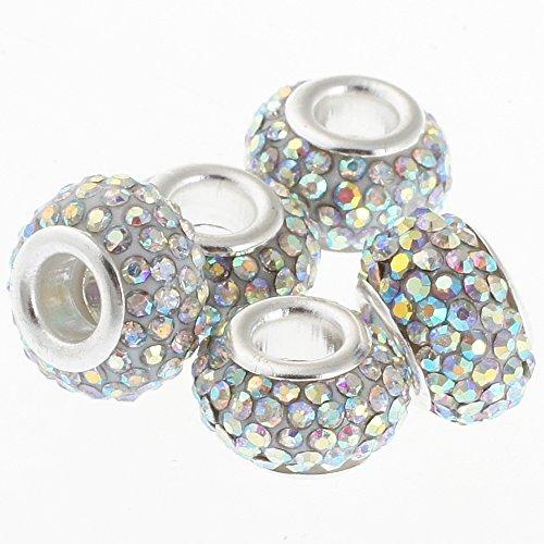 RUBYCA Big Hole Handmade Czech Crystal Beads fit European Charm Bracelet (20pcs, AB Crystal, -