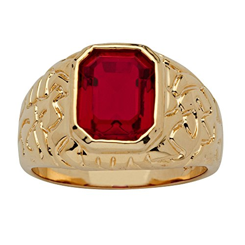 Palm Beach Jewelry Men's 14K Yellow Gold-Plated Emerald Cut Simulated Red Ruby Nugget-Style Ring Size ()
