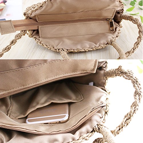 Fresh Lady Khaki Handbag Button Rope Retro Knitted Round Bag Paper With Messenger Tote Handmade Straw Vintage Beach Rattan Woven Dunnomart Bag Summer IwW17qHOxw