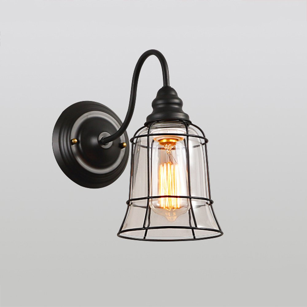 Hxgd industrial retro metal wall sconce light fittings with clear glass shade contemporary classic edison wall lamp for kitchen living dining room