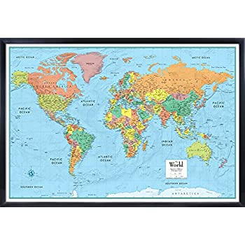 Amazon 32x50 rmc world classic wall map framed edition office rmc deluxe signature world wall map 32x50 framed edition gumiabroncs Images