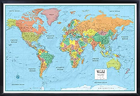 32x50 RMC World Signature Push-Pin Travel Wall Map Foam Board Mounted or  Framed (Black Framed)