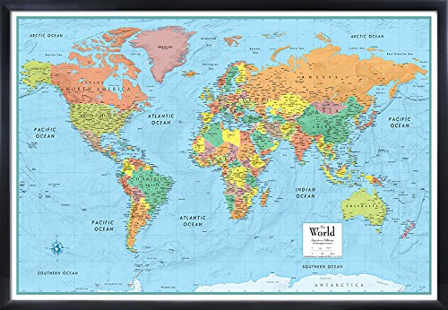 (32x50 RMC World Signature Push-Pin Travel Wall Map Foam Board Mounted or Framed (Black Framed))