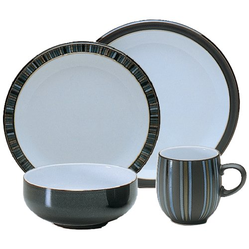 Denby Jet Stripes - Denby 16-Piece Jet Stripes Dinner Set, Black, Set of 4