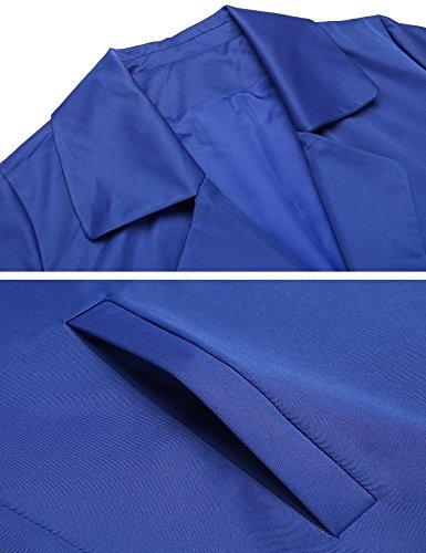c23f7b4a96e4 Coat Slim Femme Parka Veste Long Manteau vent Coupe Zeela Bleu Ceinture  Royal Avec Trench wqP0ZWd