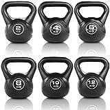JLL Vinyl Kettlebell Strength Training Home Gym Fitness Kettlebells (Black Colour) Ranging From 2kg, 4kg, 6kg, 8kg, 10kg & 12kg Kettlebells and Set Combinations.