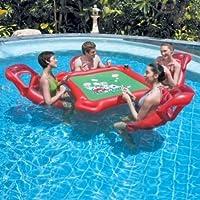 Mesa y 4persona Asiento Mahjong inflable flotante sobre el agua de drenaje Protección Pvc inflable flotante de agua Mesa Mesa de póquer hinchable Mahjong