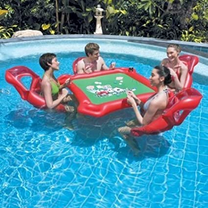 Liap 4 Person Inflatable Seat Mahjong Table Floating On Water Drainage Protection Pvc Water Inflatable Floating Table Poker Table Inflatable Mahjong