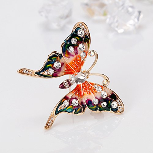 Finance Plan Women Retro Butterfly Multicolor Enamel Shiny Rhinestone Brooch Pin Jewelry Gift by Finance Plan (Image #4)