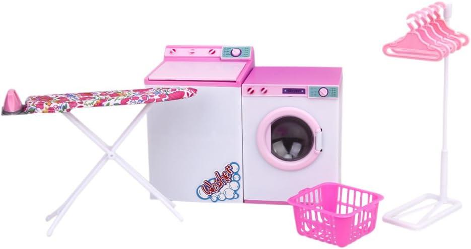 Juego de Sala de lavandería Lavadora Cuadro para Barbie muñeca ...