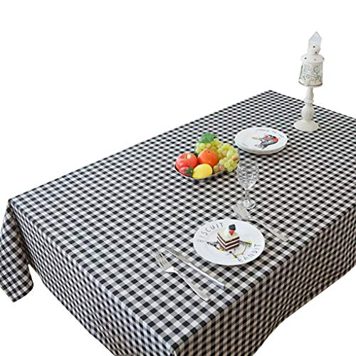 AJ-Home Buffalo Check Vinyl Tablecloth Heavy Weight Rectangle Tablecloth Oil-Proof/Waterproof Stain-Resistant/Mildew-Proof for Buffet Table,Parties,BBQ's,Wedding,Black & White 39