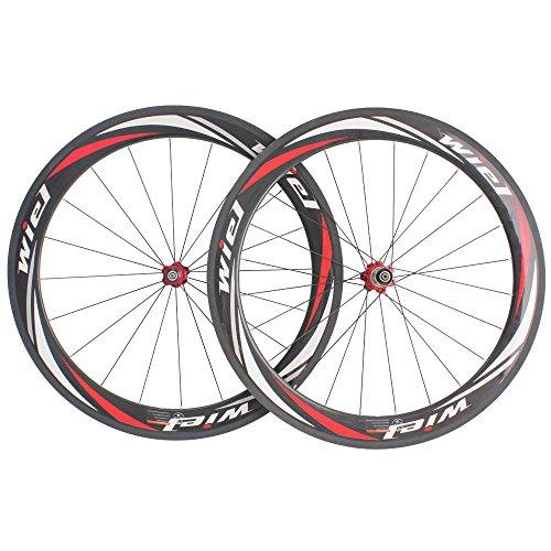 Wiel 700c Full Carbon Fiber Road Bike Tubular Wheels Bicycle Wheelset for Shimano - 3k Glossy Red White R60t