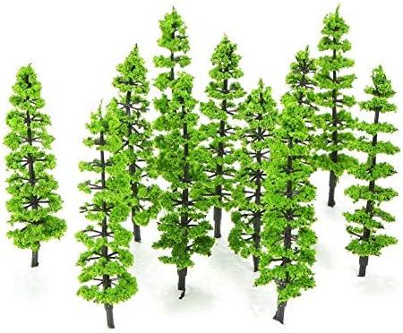 20枚のミニプラスチック緑の木々スケールの建築模型列車の鉄道風景風景レイアウトの庭の装飾の木のおもちゃスケール:1/100 知育玩具