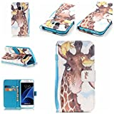Uming® Retro Print Pattern Colorful Holster Cover Case ( Birds Giraffe - for Samsung Galaxy S6EdgePlus S6Edge+ G928 ) Artificial-leather Flip with Bracket Stander Holder Credit Card Slot Wallet Hasp Magnet Button Shell Protective Mobile Cellphone Cover Bag