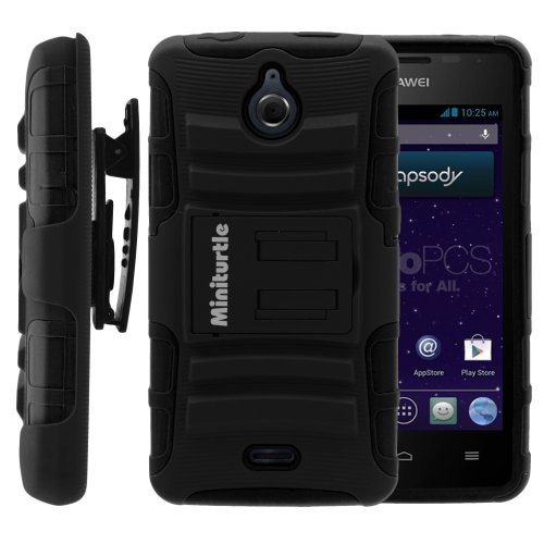 MINITURTLE, 2 in 1 Hybrid Dual Layer Armor Phone Case Cover with Kickstand, Holster Belt Clip, and Screen Protector for Prepaid Android Smartphone Huawei Ascend Plus H881C from Straight Talk and Huawei Valiant Y301-A1 from Metro PCS