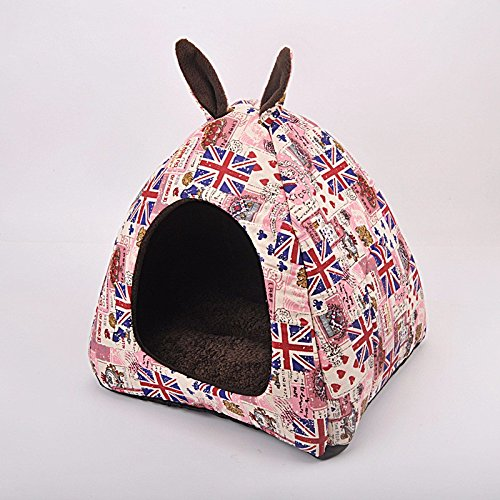 Pink,S 303030cm Pet Online Pet house fashion england wind cotton cute ears ears Mongolian cats and kennel, S  30  30  30cm, pink