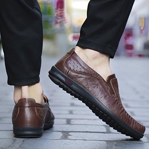 D'affari Yiiquan Casual Bottone Stile Britannico Grande Marrone Uomini Scuro Uomo Taglia Scarpes Morbido crEWqIr
